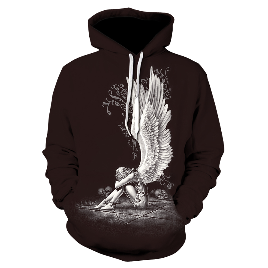 Sexy Fashion Men/women 3D Sweatshirt Angel Girl Skull Hooded Sweatshirt, Both Men And Women Wholesale And Retail