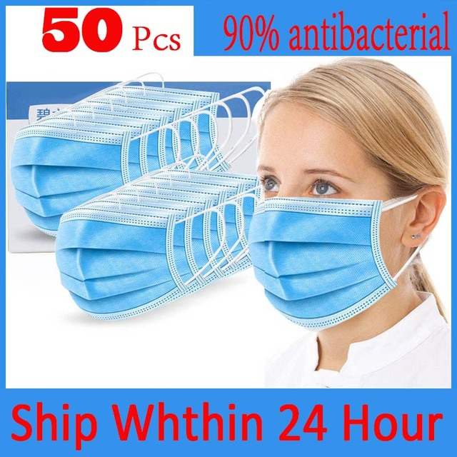 50PCS In Stock Fast Delivery Hygiene Face Mask 3 Layer Disposable Protective Mask To Antivirus Masks Dustproof Anti Virus Flu
