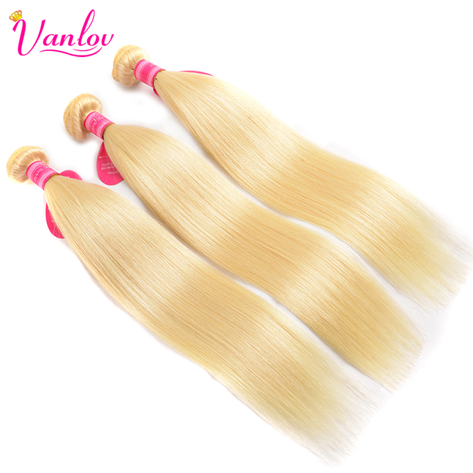 Vanlov 613 Bundles With Frontal Blonde Straight Hair Bundles With Closure Brazilian Human Hair Weave Bundles With Frontal Remy (2)