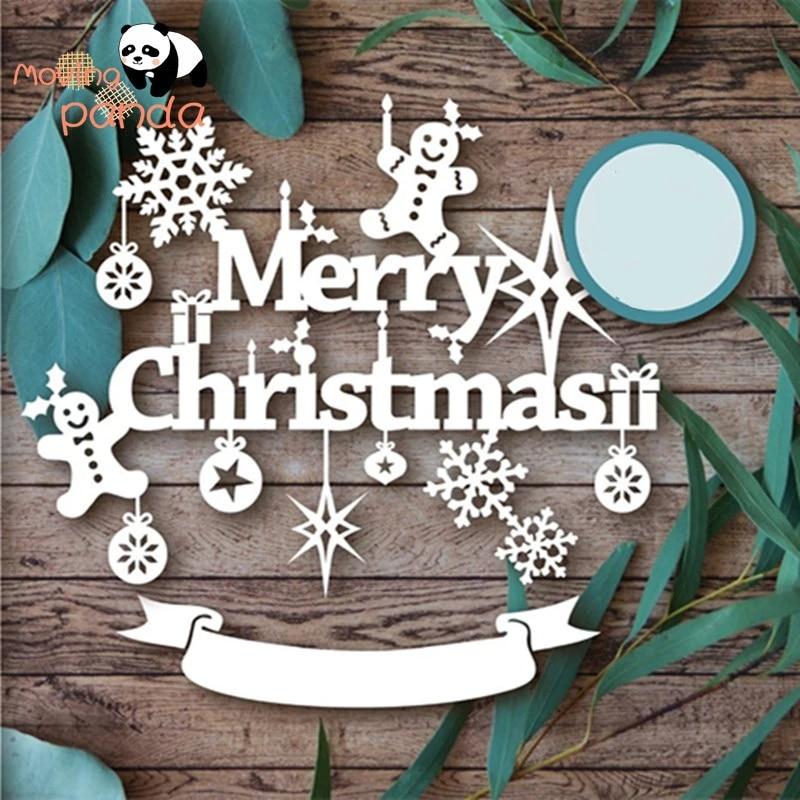 Merry Christmas with Snowflakes Metal Die Cutters-