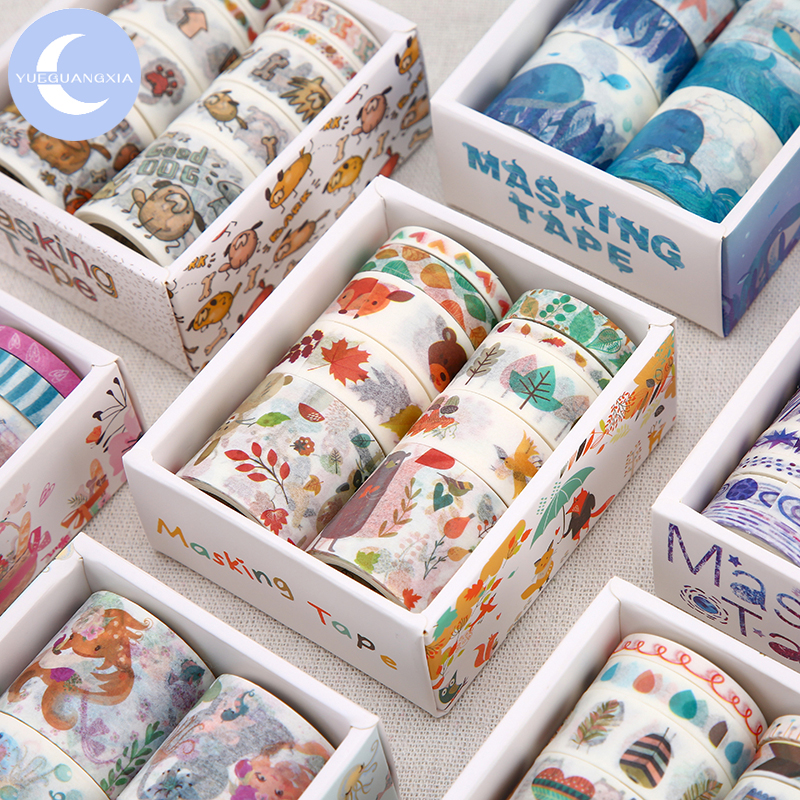 YUEGUANGXIA 24 Designs 10Pcs/Box Fantasy Ocean Beautiful Flowers Plant Washi Tapes Diy Decoration For Scrapbooking Masking Tapes