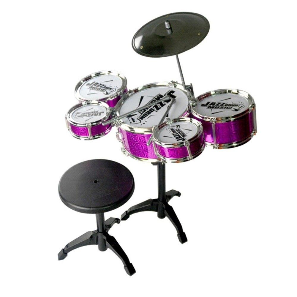 Bambini Giocattoli Strumento Musicale Drum 5 Tamburi di Simulazione Jazz Drum Kit con Bacchette Educativi Imparare Giocattolo Musicale per I Bambini