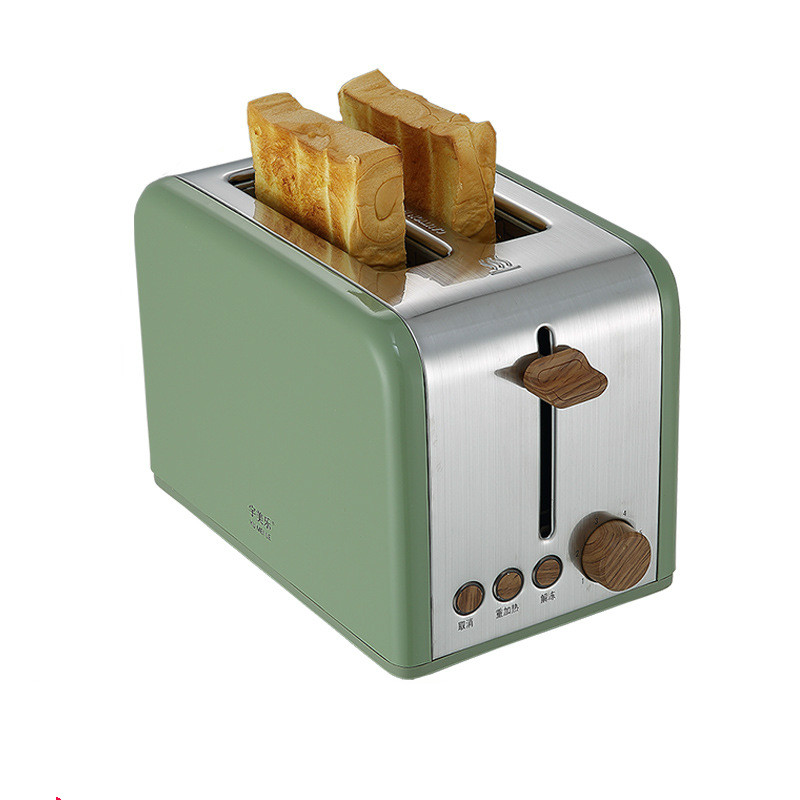 Нержавеющая сталь хлебопечка электрический тостер торт тост сэндвич печь гриль 2 ломтика автоматическая машина для выпечки завтрака ЕС - Цвет: green