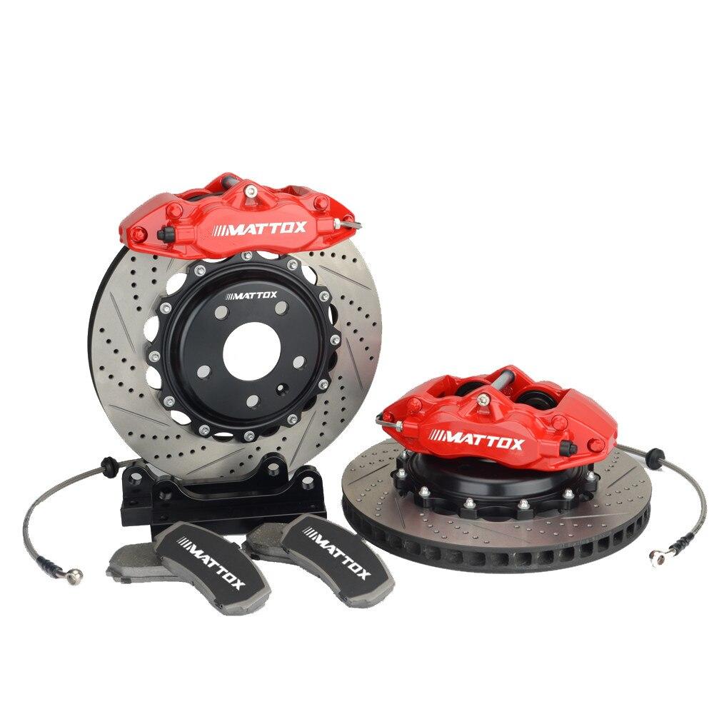 Mattox Kit de frein de voiture 345*28mm disque de frein Rrotors 4POT Piston étrier pour VOLVO C30 2008 2013 roue avant 18 pouces