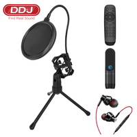 DDJ A3 Broadcasting Room Condenser Microphone Kit for PC Karaoke Youtube Professional Recording Live Home with Stand