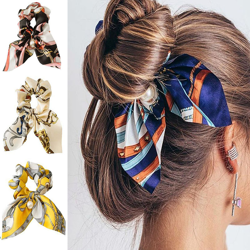 Fashion New Chiffon Bowknot Silk Hair Scrunchies Women Pearl Ponytail Holder Hair Tie Hair Rope Rubber Bands Hair Accessories