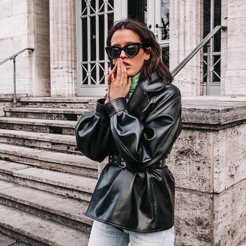Черное Женское пальто из искусственной кожи, простое однотонное, с длинным рукавом, с воротником, с поясом, кожаное пальто для женщин, мягкая мотоциклетная куртка для женщин|Базовые куртки| | - AliExpress