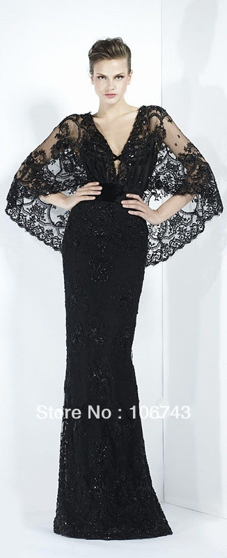New Design Vestido De Festa Sexy Beaded Formal Party Elegant Black Long Lace Evening Gown Celebrity Mother Of The Bride Dresses