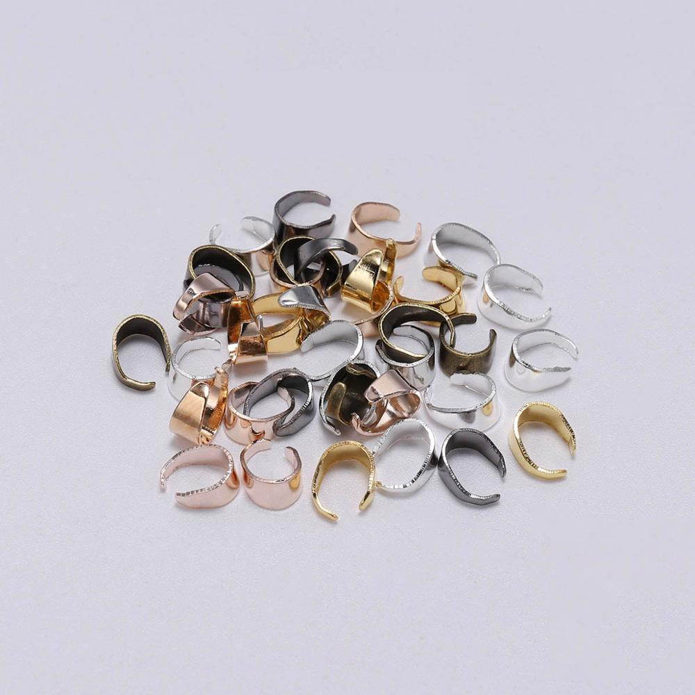 50pcs Necklace Pendant Pinch Clip Bail Connector For DIY Jewelry Making 5 colors