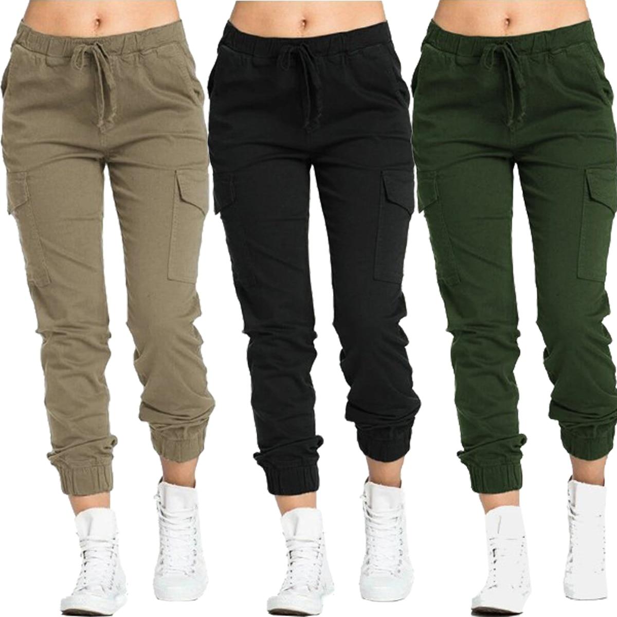 Women Solid Cargo Pants 1