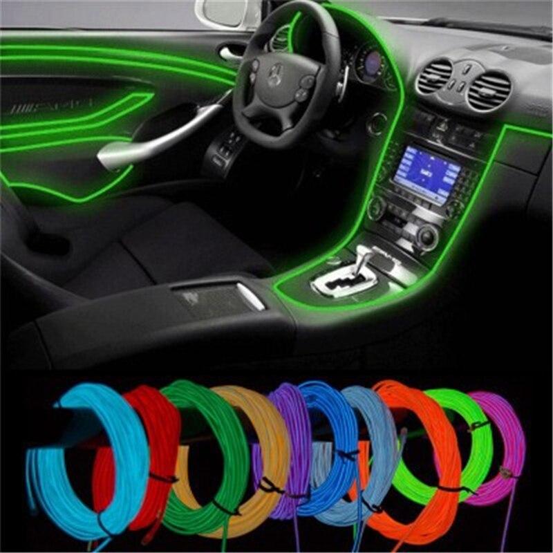 Светодиодная лента для внутреннего освещения автомобиля, Декоративная гирлянда с проводным тросом, гибкая неоновая лампа с приводом для си...
