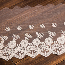 2Yards/lot Width:32cm White cotton embroidered mesh lace fabric Garment lace trims trimmings DIY ribbons Sewing accessories 4meters 4cm eco friendly sequins lace trims 3d gold silver lace ribbons for stage dance dress belt sewing accessories