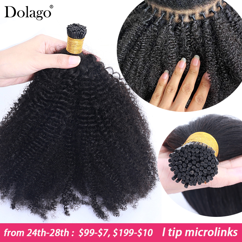 Hair-Extensions Curly Microlinks Afro Kinky Virgin Black-Color Bulk Natural Brazilian