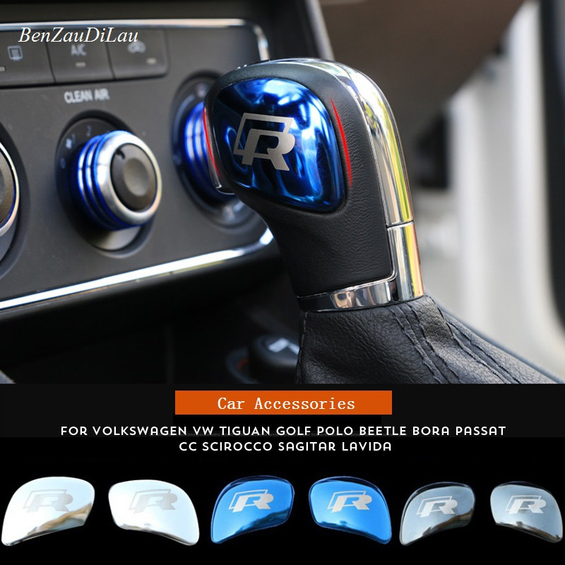 R Logo Gear Shift Knob Gear Head Sticker Cover For Volkswagen POLO CC Golf 7 6 Bora Tiguan Passat SCIROCCO Car-Styling