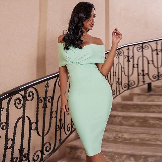 Cerf dame été femmes moulante robe de pansement 2019 nouveau vert hors épaule robe de pansement rayonne Sexy célébrité robes de soirée Club