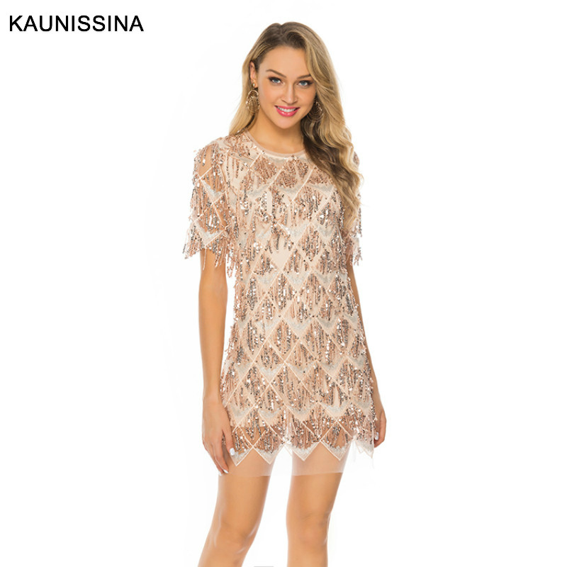 KAUNISSINA Sequins Party Dress Short Sleeve Cocktail Gown Dresses Sequined Homecoming Vestidos Banquet Prom Dress
