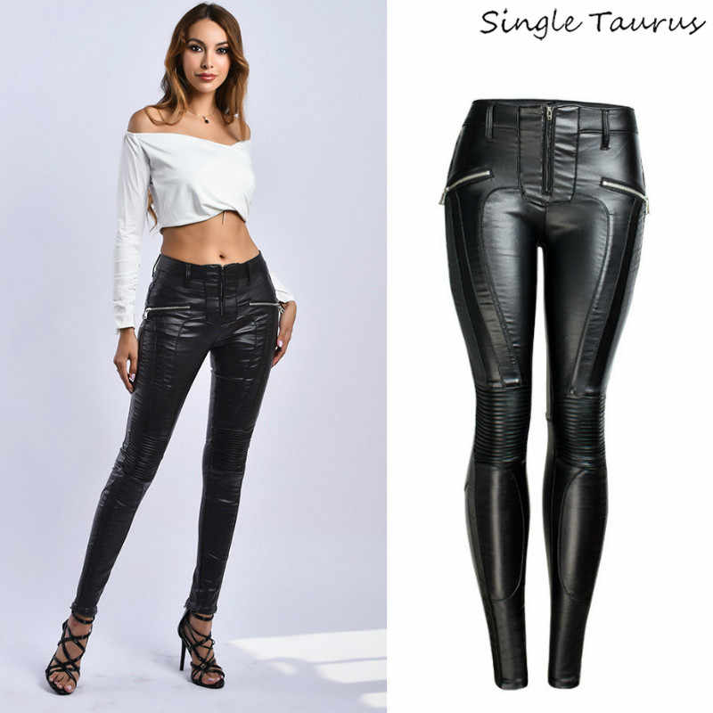 Sexy PU Black Pants Women Europe and America Skinny Faux Leather Pants Mujer Winter Spring Fake Zippers Moto Biker Leggings