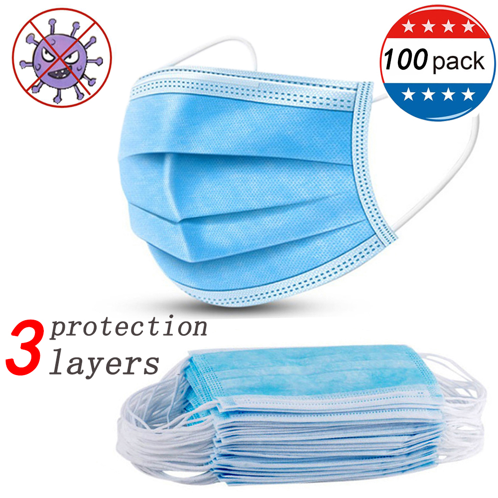 Fast Shipping 3 Layer Protection Face Mouth Disposable Mask Dustproof PM2.5 Prevent Anti Virus Bacteria Proof Masks 100/50/30pcs