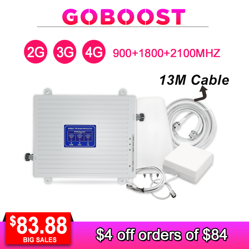 2G 3G 4G Tri Band Signal Repeater GSM 1800 2100 LTE Cellular Signal Booster Mobile Phones Amplifier AGC GSM 3G 4G Antenna Kit  -in Signal Boosters from Cellphones & Telecommunications