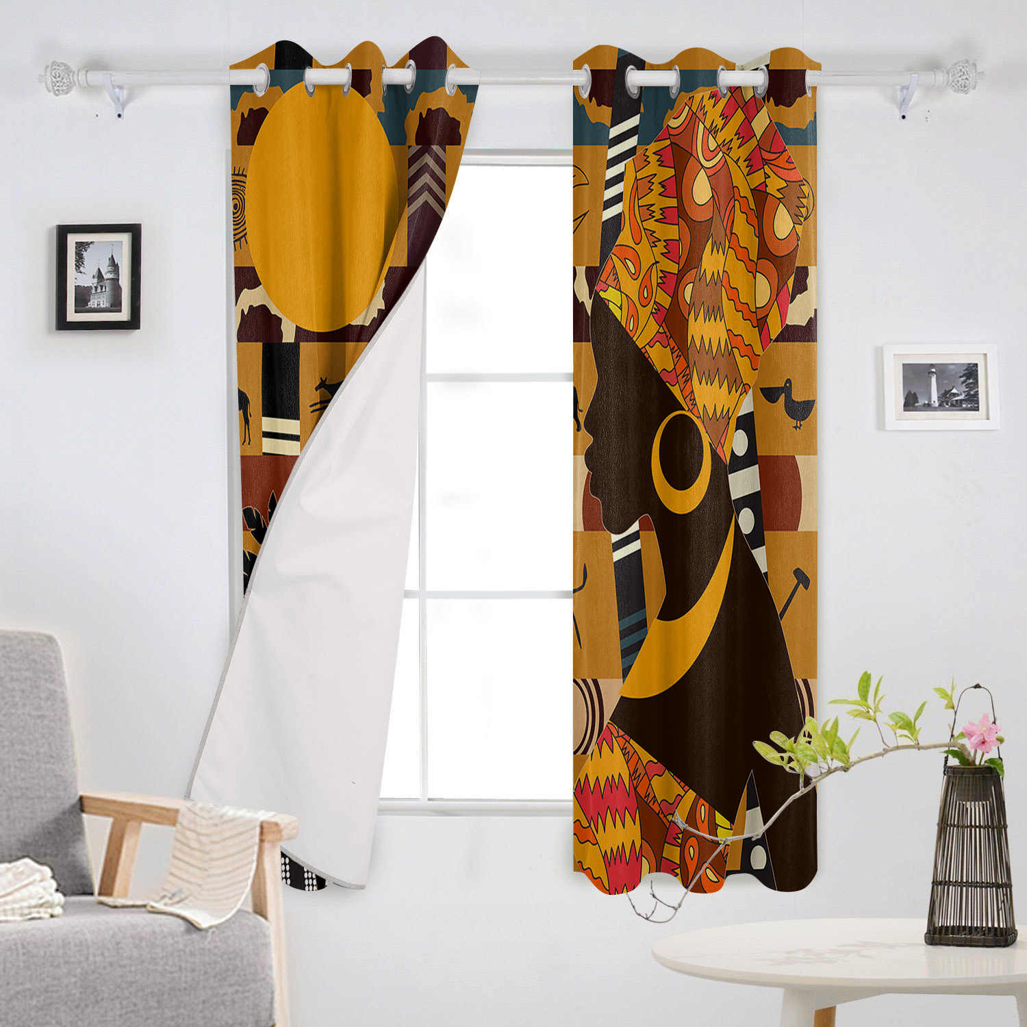African Female Elephant Giraffe Bedroom Kitchen Curtains Living Room Decoration Items Window Curtains For Living Room Curtains Aliexpress