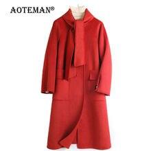 Женская зимняя куртка однотонное пальто шерстяная женская уличная
