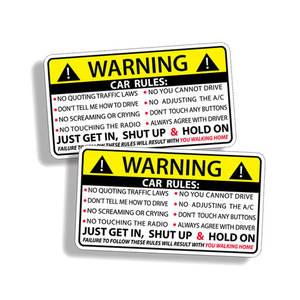 2PCS 10.2CM*5.7CM Car Safety Warning Rules Decal PVC Car Sticker