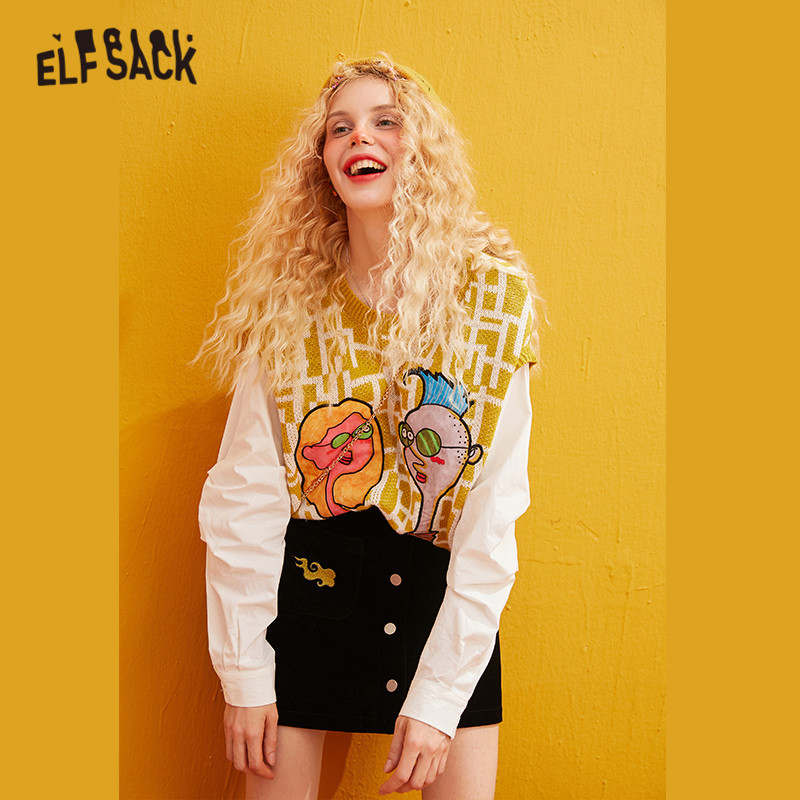 ELFSACK Yellow Character Print Pullover Fake Two Pieces Women Sweaters 2019 Winter Patchwork Sleeve Oversived Female Basics Tops