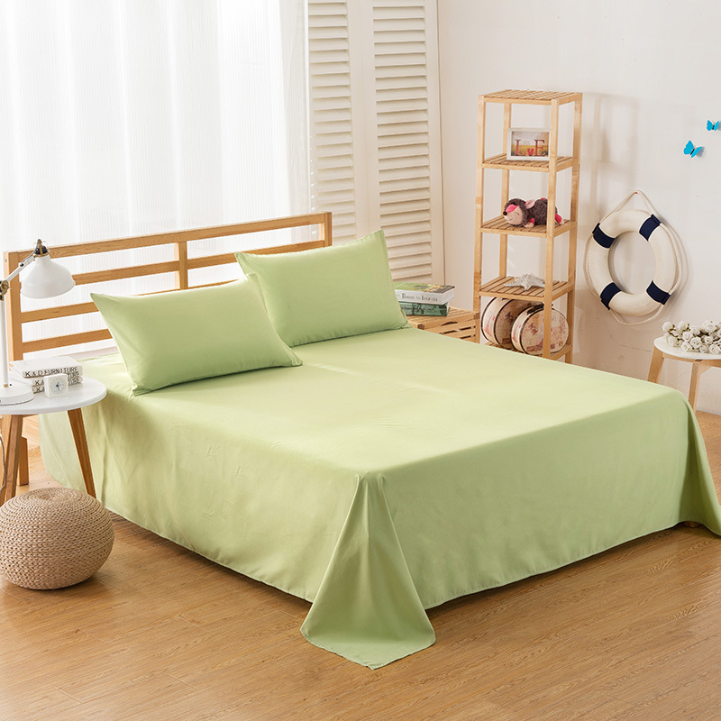 ropa de cama Solid color polyester cotton bed sheet hotel home soft brushed flat sheet queen bed cover not included pillowcase 17