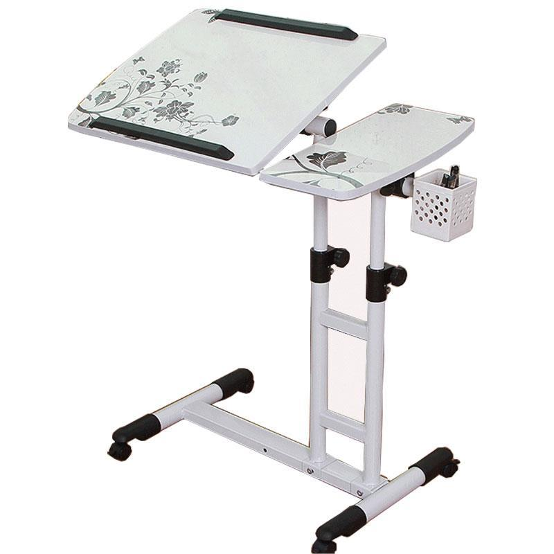 Laptop Stand Rolling Cart, Foldable Portable Mobile Height Adjustable Standing Table With Side Basket For Home Office