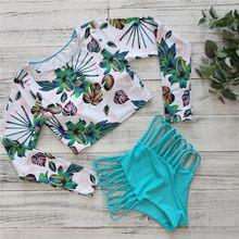 2021 Sexy Bikini a maniche lunghe costume da bagno donna foglie verdi stampa costumi da bagno costumi da bagno Bikini brasiliano Set Biquini donna