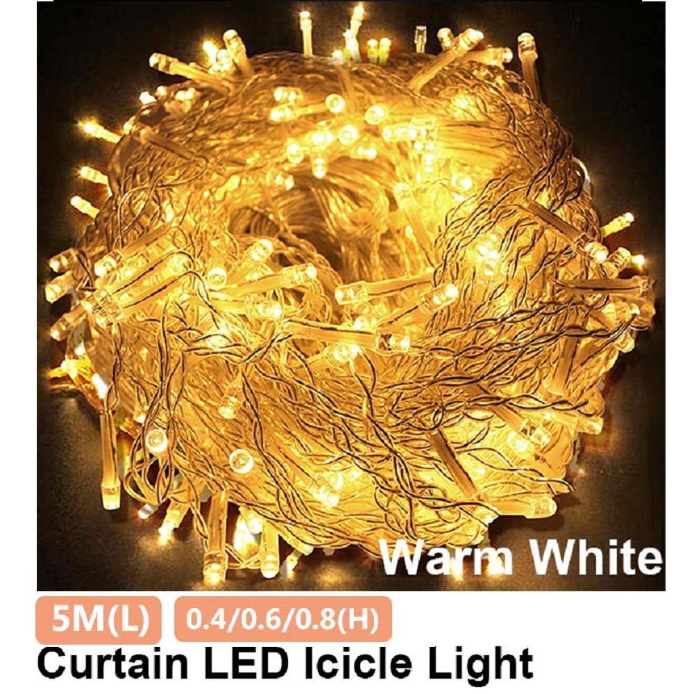 5M 216 LED Curtain Icicle String Lights Droop 0.4m 0.6m 0.8m 220V Christmas Decoration Home Street Outdoor Garland Fairy Lights on Leclstar Official Store