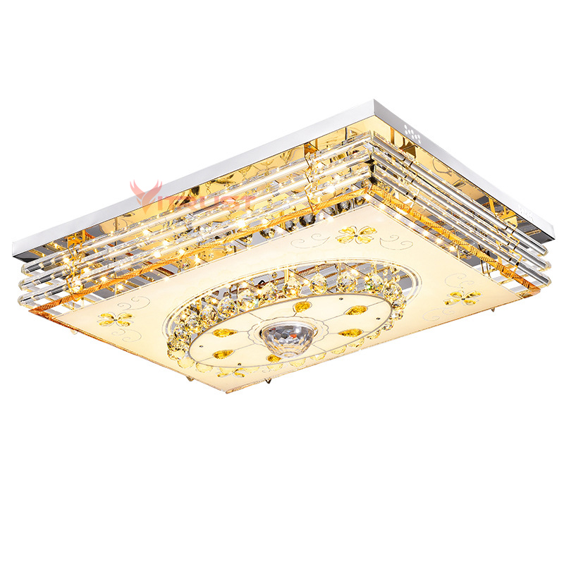 Lámpara LED de techo de cristal moderna lámparas RGB regulable 220V APP Bluetooth y altavoz de música lámpara inteligente colorida de la sala de estar - 6