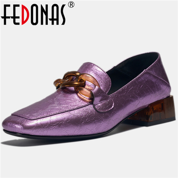 FEDONAS Fashion Concise Patent Leather Women Casual Shoes Metal Chain Decoration 2020 Spring New Square Toe Slip-On Shoes Woman