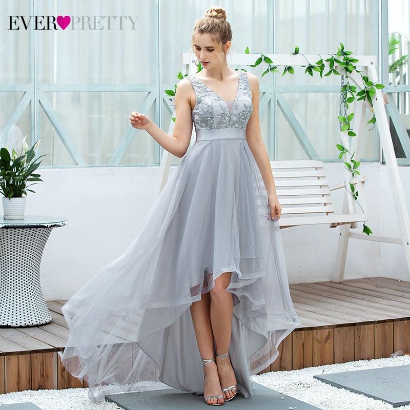 Sparkle Grey Prom Dresses Long Ever Pretty Asymmetrical V-Neck Sequined Sleeveless Tulle Elegant Party Gowns Vestidos De Gala