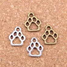 40 pçs encantos cão pata 13x11mm pingentes antigos, vintage tibetano jóias de prata, diy para pulseira colar
