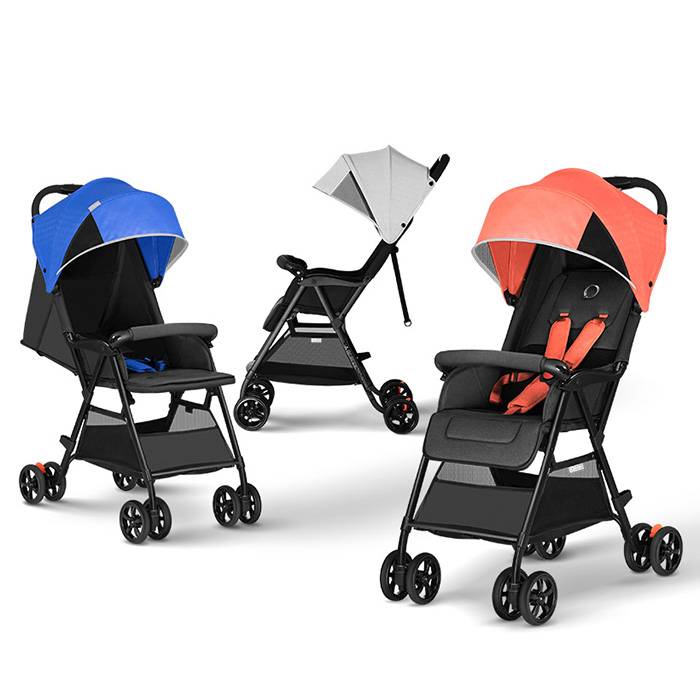Lightweight Folding Baby Stroller 110 - 165 Degrees Stepless Adjustment Seat Back 3-Stage Waterproof Canopy Four Wheels Stroller