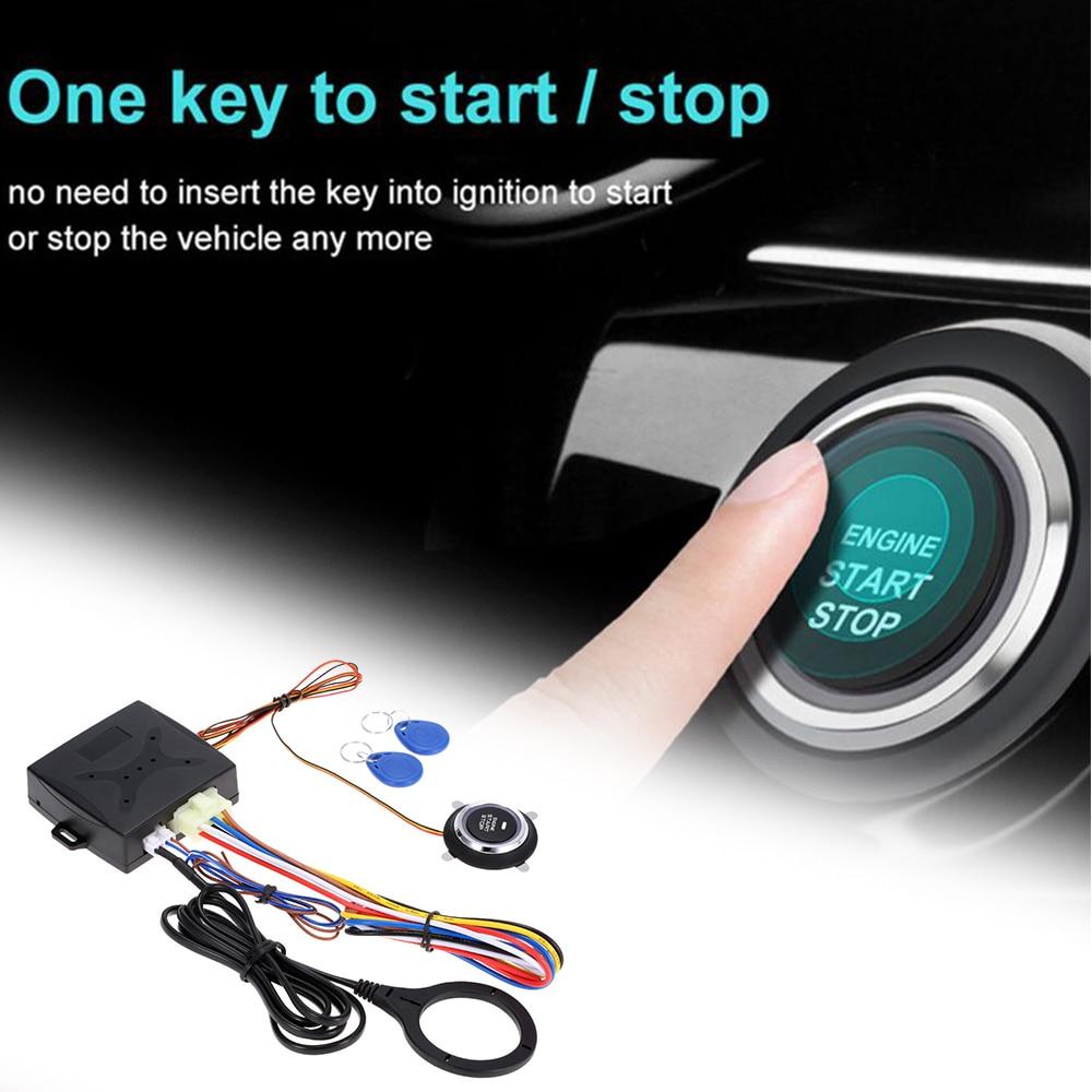 TOSPRA 12V Car Start Stop Button Engine Push Start Button Alarm RFID Lock Keyless System Door Push Button Tactile Buttons