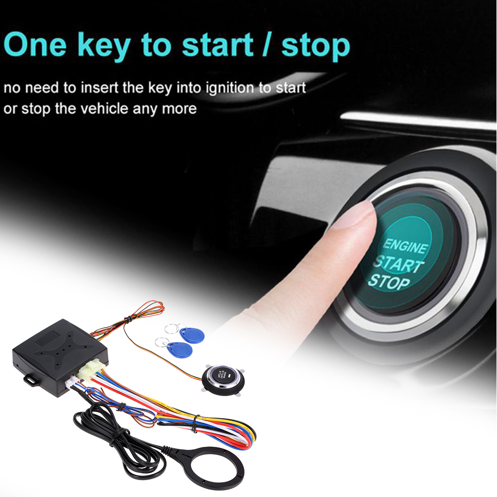 TOSPRA 12V Car Start Stop Button Engine Push Start Button Alarm RFID Lock Keyless System Door Push Button Tactile Buttons