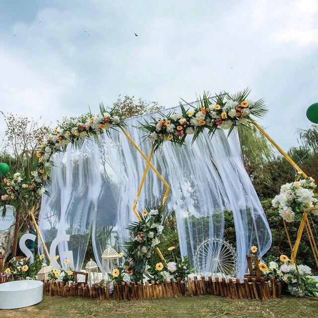 Bruiloft Props Zeshoekige Smeedijzeren Boog Frame Achtergrond Decoratie Bruiloft Stadium Ijzeren Frame Bruiloft Verjaardag Feestartikelen