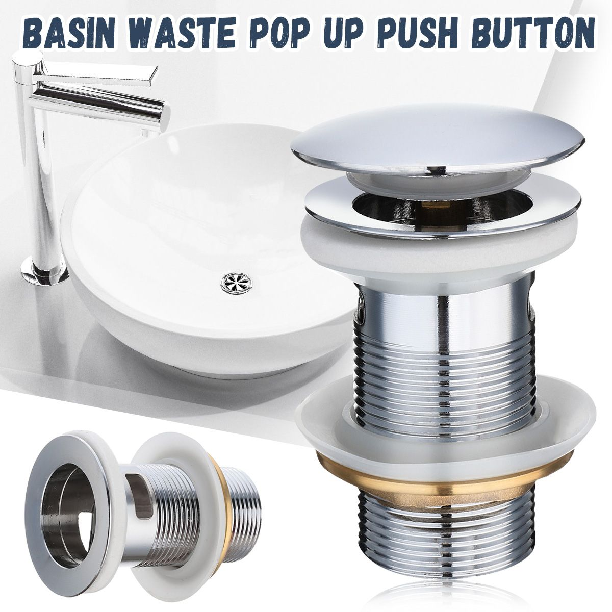 Zinc Alloy Click Slotted Basin Sink Tap Drain Bath Overflow Hole Push Button Pops Up Clack Waste Plug
