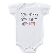 Baby-Boys-Girls Bodysuit Rompers Onesies Newborn Baby Cotton Summer 50%Daddy Cute 100%Love-Print