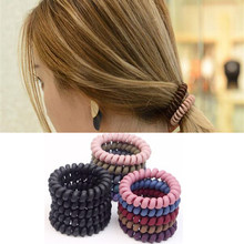 Women Big Telephone Line Hairbands Scrunchie Matte Headband Elastic Solid Hair Bands For Girl Ring Scrunchies Hair Accessories(China)