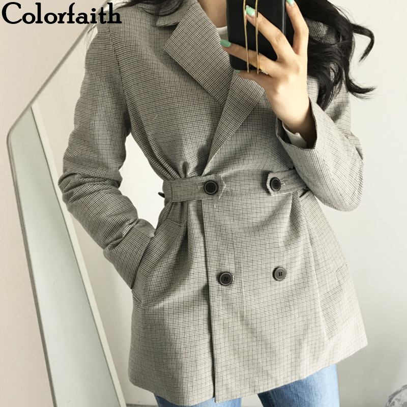Colorfaith New 2019 Autumn Winter Women's Blazers Jackets Gray Notched Plaid Button Outerwear England Style Cardigan Tops JK152