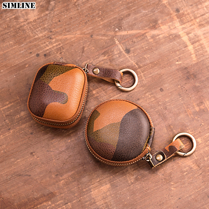 Genuine Leather Coin Purse Vintage Handmade Small Apple Airpods Cover Earphone Headphone Cable Holder Key Ring Keychain Case Bag