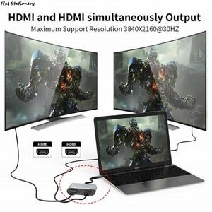 "Image 4 - סוג C כדי הכפול HDMI תואם USB 3.0 פ""ד ממיר 4 ב 1 USB C Dock תחנת רכזת 4K מתאם כבל עבור טלפון Macbook מחשב נייד טלוויזיה"