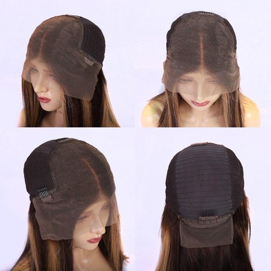 13*6 remy peruano 150% ombre perucas de cabelo humano #4/27 destaque rendas frente perucas de cabelo humano perucas de renda em linha reta do cabelo transporte rápido - 2
