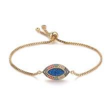 ShinyGem Turkish Evil Eye Bracelets Pave CZ Adjustable Gold Chain Oval Druzy Bracelet Rainbow Evil Eye Charm Bracelets For Women
