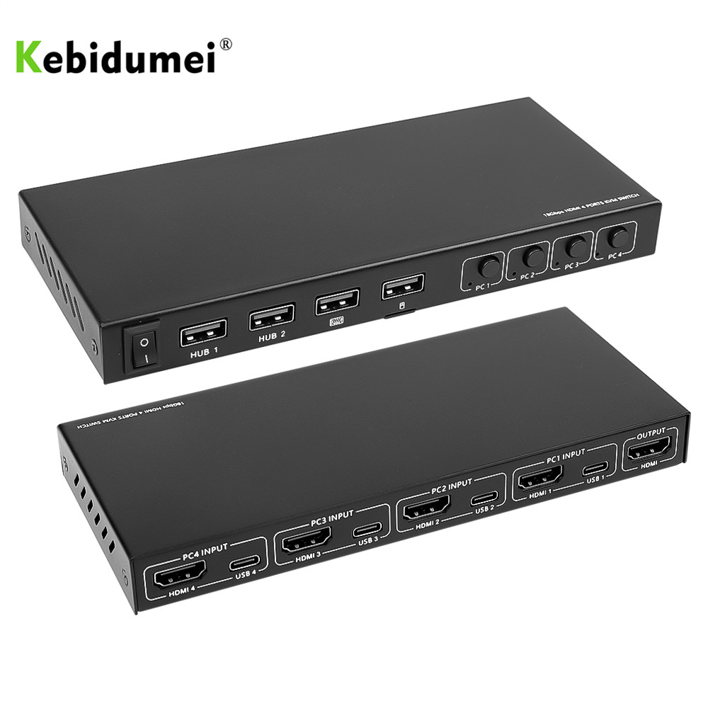 4K видео дисплей USB KVM переключатель коробка 2/4 портов Тип C HDMI KVM переключатель разветвитель коробка для совместного использования принтер кл...