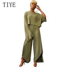 цена TIYE Women Casual Long Sleeve Crop Top Wide Leg Pants 2 Pieces Sets for Female Sexy High Split Female Loose Rompers Jumpsuits