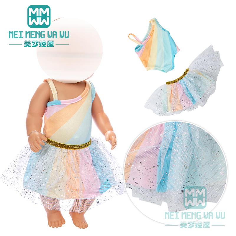 Clothes For Doll Fit 43cm Baby New Born Doll Fashion Rainbow Skirt Girl Dress